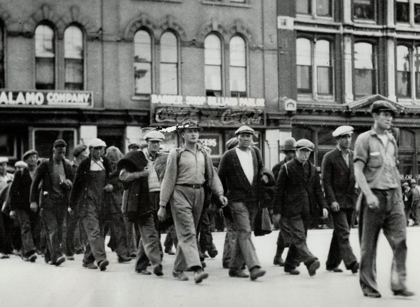 Unemployed men march during the depression